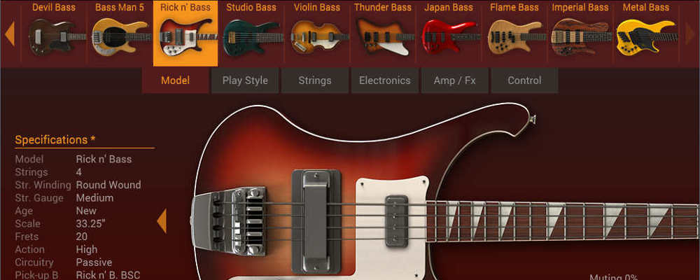 Overview of the MODO Bass virtual instrument.
