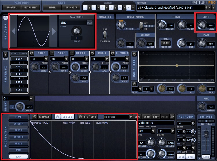 These tweaks for Cakewalk's Rapture Pro can modify a basic acoustic piano's sound.