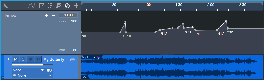 """Graphic of the tempo changes for the song """"My Butterfly."""""""