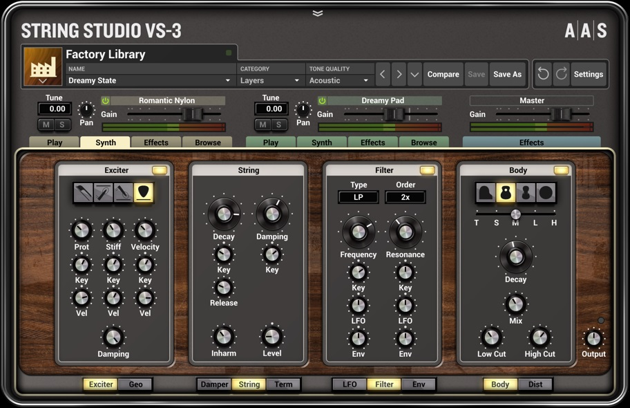 On the VS-3 synth page, note the buttons under each panel where you can change the panel's functionality.