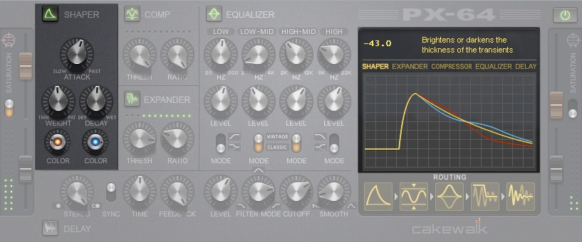 Cakewalk's PX-64 plug-in, which is designed for percussive applications, contains a transient shaping module.