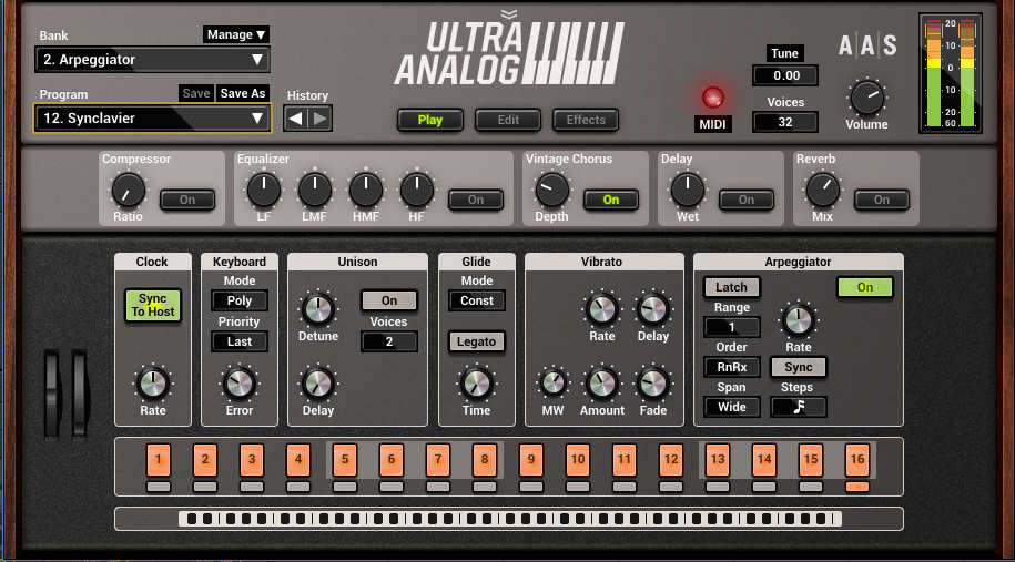 The main Play page brings out several important parameters to front-panel control, but also includes effects and an arpeggiator.