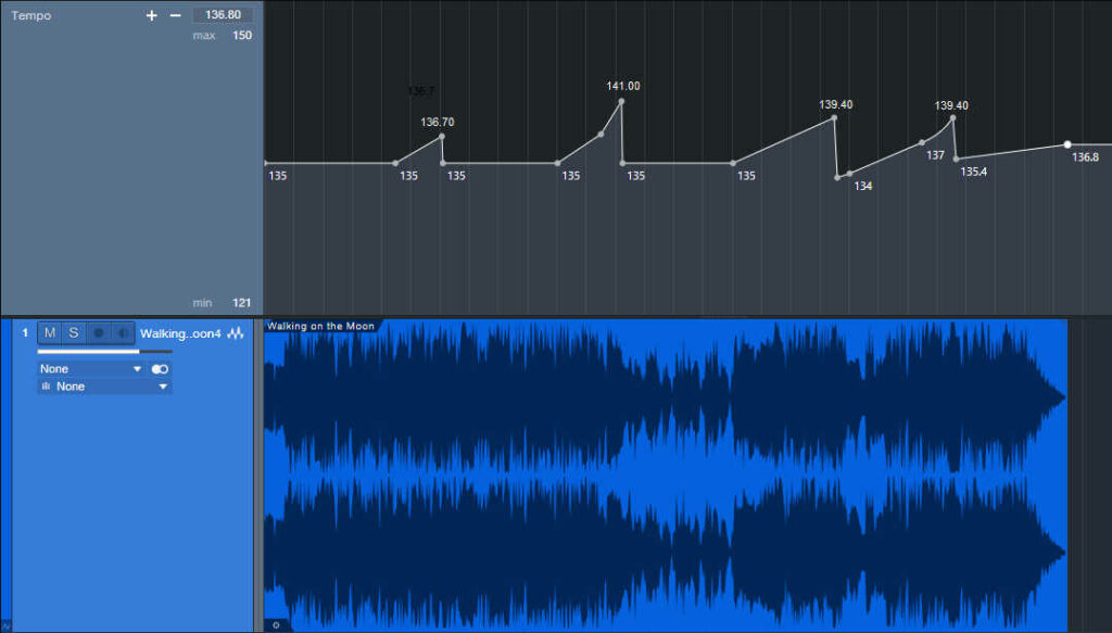 """Graphic of the tempo changes for the song """"Walking on the Moon."""""""