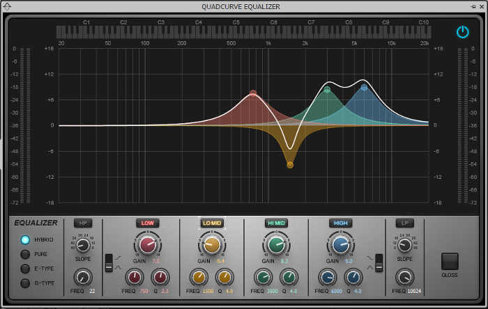 This shows an EQ curve that's based on the main picture that shows four peaks, but changes one of the peaks to a notch for a different sound.