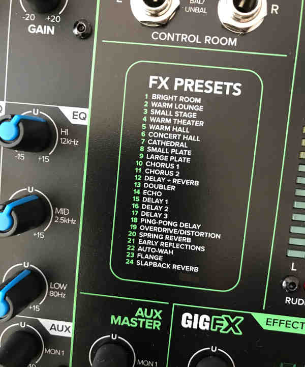 The front panel listing of the 24 effects in the ProFX16v3 mixer.