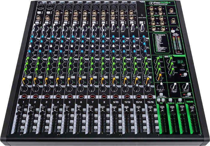 Front panel view of the ProFX16 v3 mixer