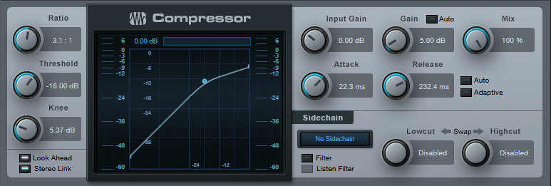 Compression settings for bass, as applied to the compressor effect in PreSonus Studio One.