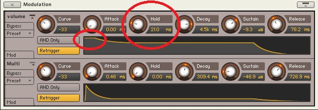 Amplitude envelope from Native Instruments' Kontakt, being tweaked to add a hold time.