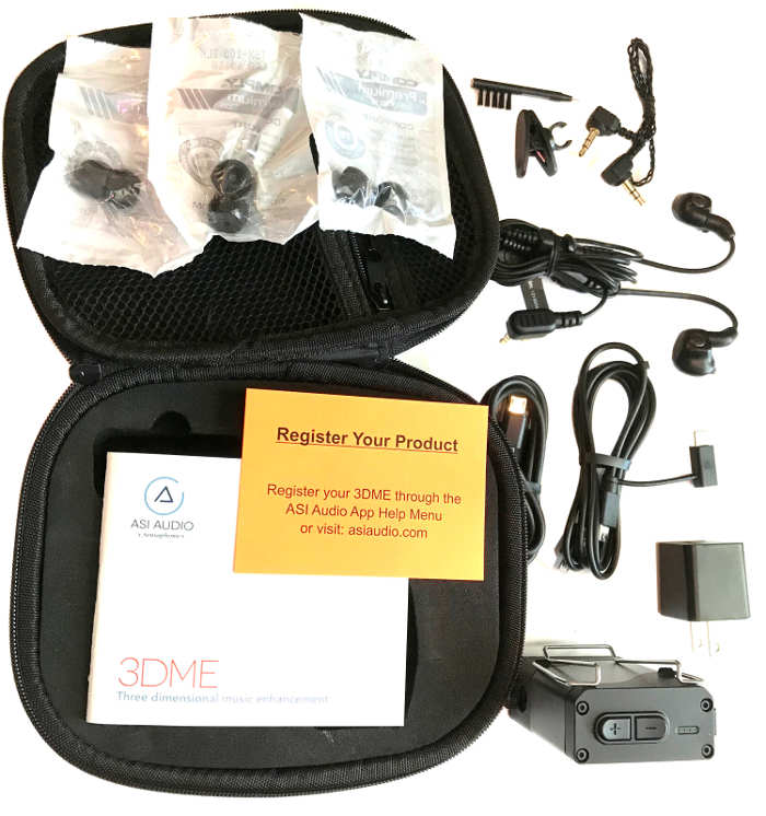 All elements included in the 3DME package: case, earbud tips, in-era monitors, cables, tip cleaner, AC adapter, and bodypack.