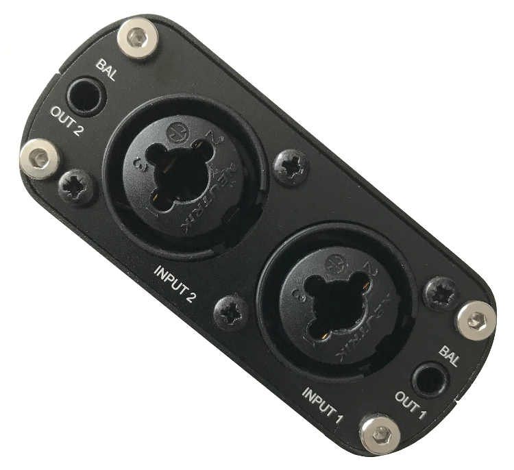 Image of one end of the R4R, showing two Neutrik combo connectors, and two minijack line outputs.