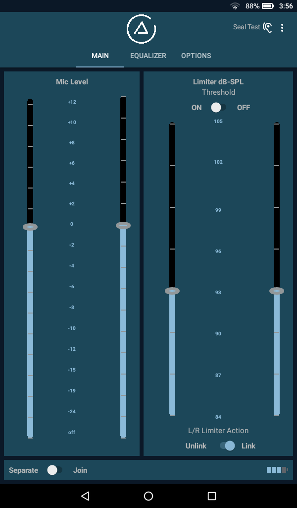 Image of the app's main page, showing the mic input level fader and meter, along with the dynamic range limiter.