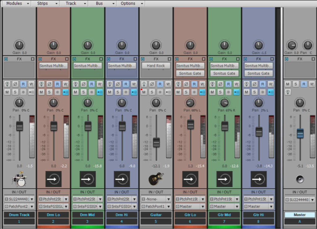 Mixer setup for multiband sidechaining in the Cakewalk by BandLab DAW. This shows two audio channels (guitar and drums) each feeding three bands. In this case, the bands are in separate tracks; for other DAWs, they would likely be in separate buses. The end result is the same.