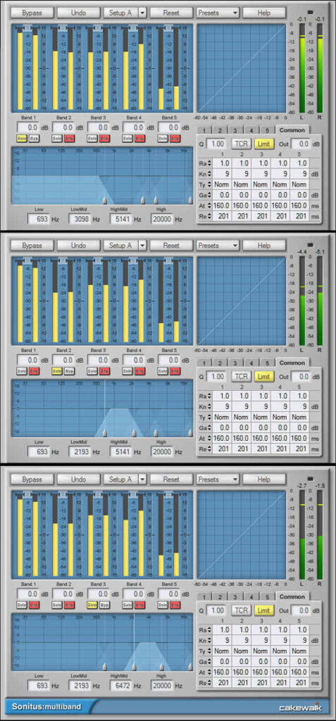 Settings for three multiband compressors used to split an audio signal into three different frequency bands.