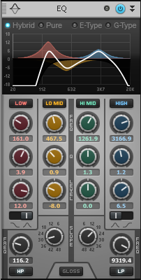 EQ settings that help make a piezo pickup sound more like a mic; the settings are described in the text below.