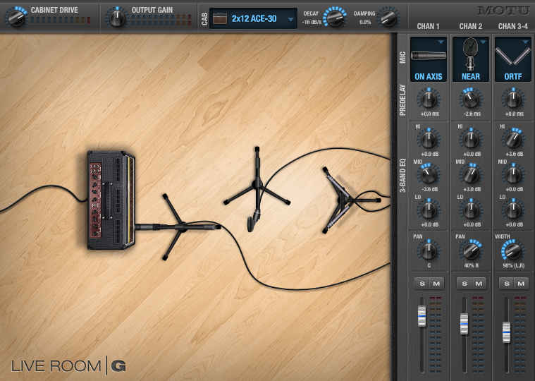 Screen shot showing three virtual mics placed in a room containing a virtual guitar amp.