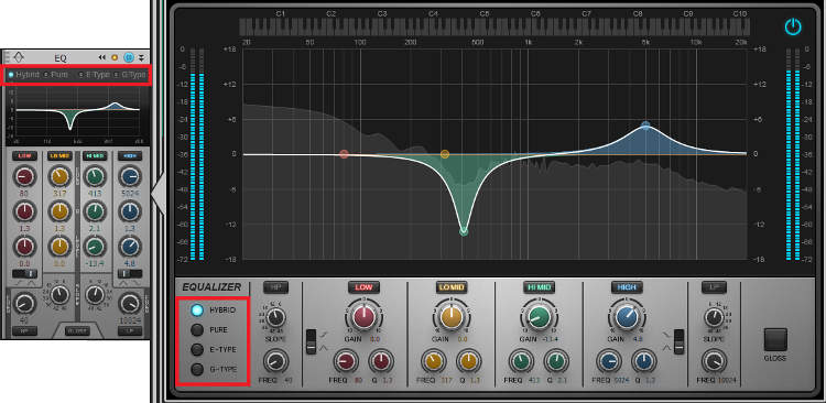 Two different views of the quadcurve EQ, the compact and extended versions.