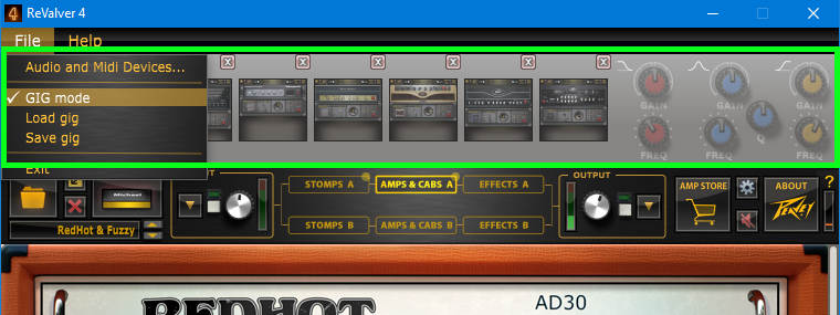 Screen shot of multiple buttons that call up different amp sim presets for live performance.