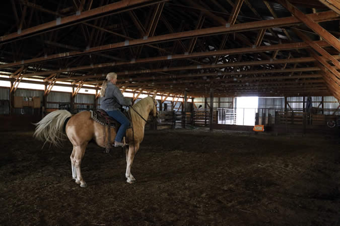 Owner Jean Norman in the arena