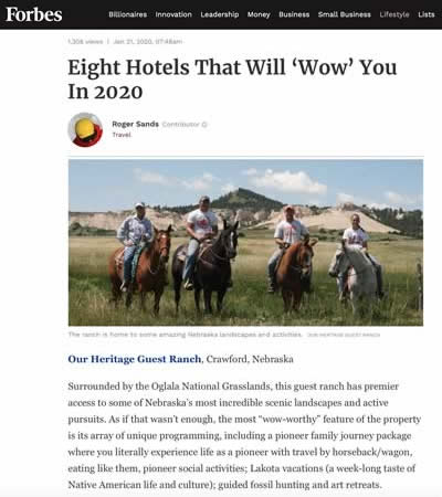 Our Heritage Guest Ranch featured in Forbes