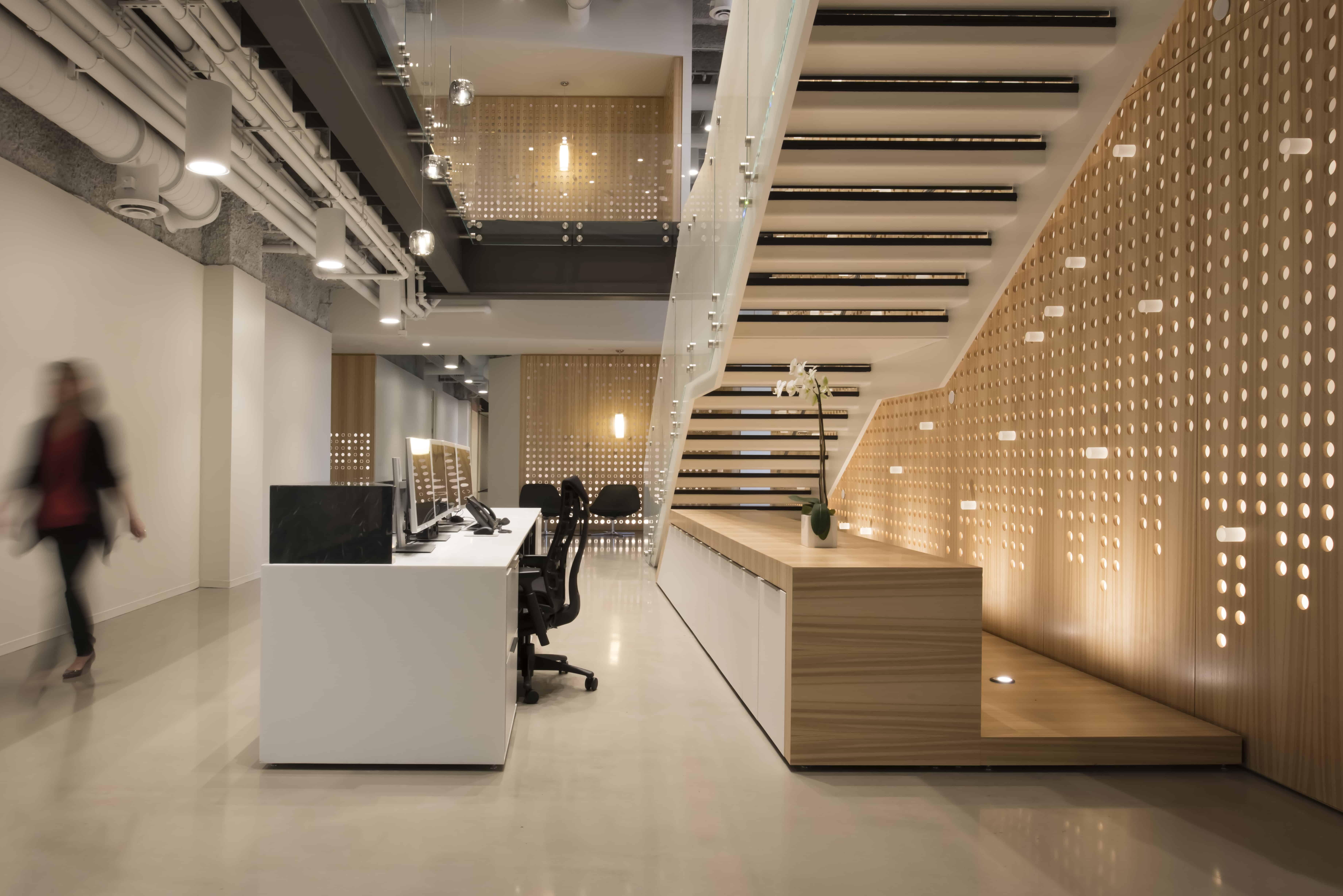 modern reception desk stair