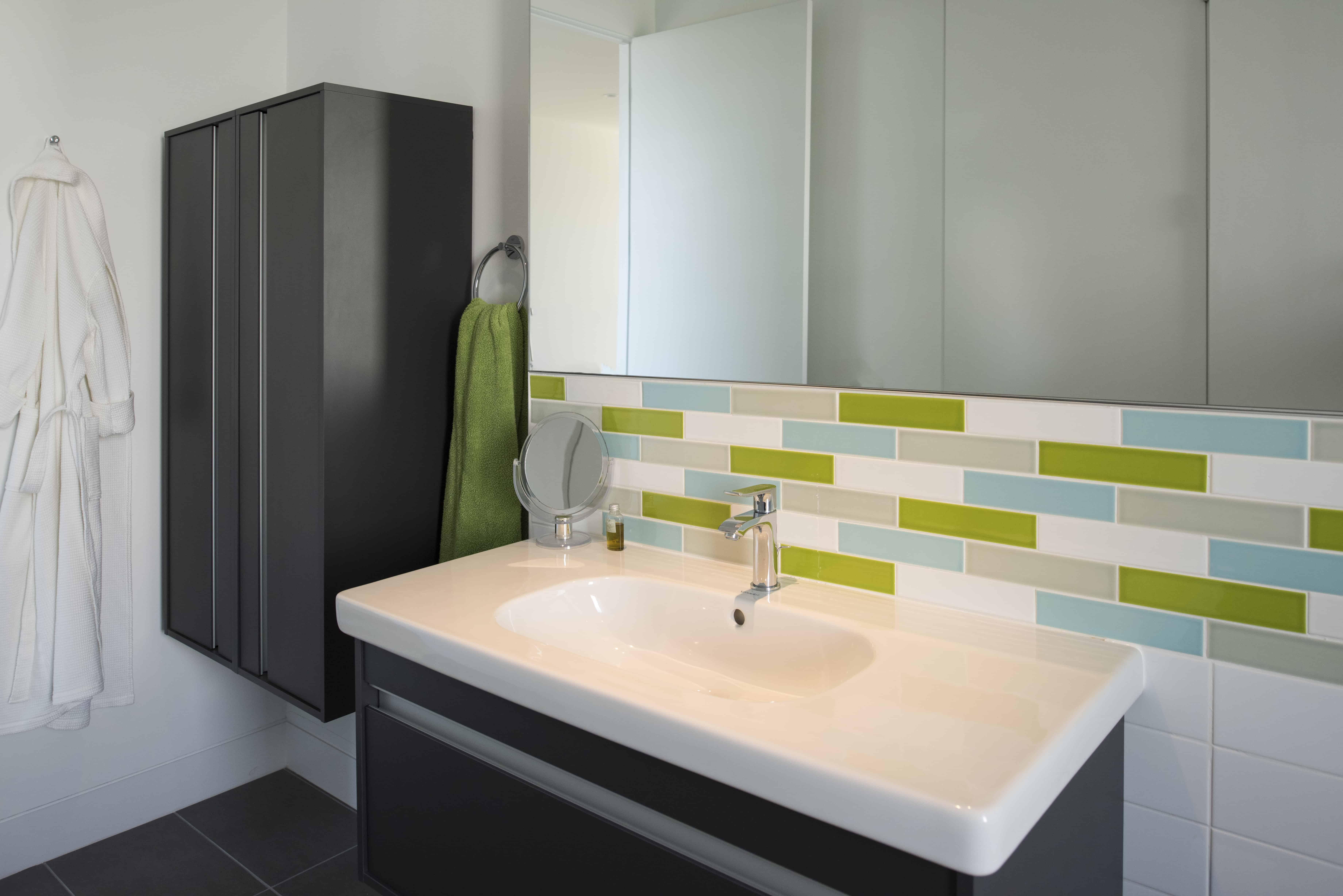 houston modern bath with european cabinetry