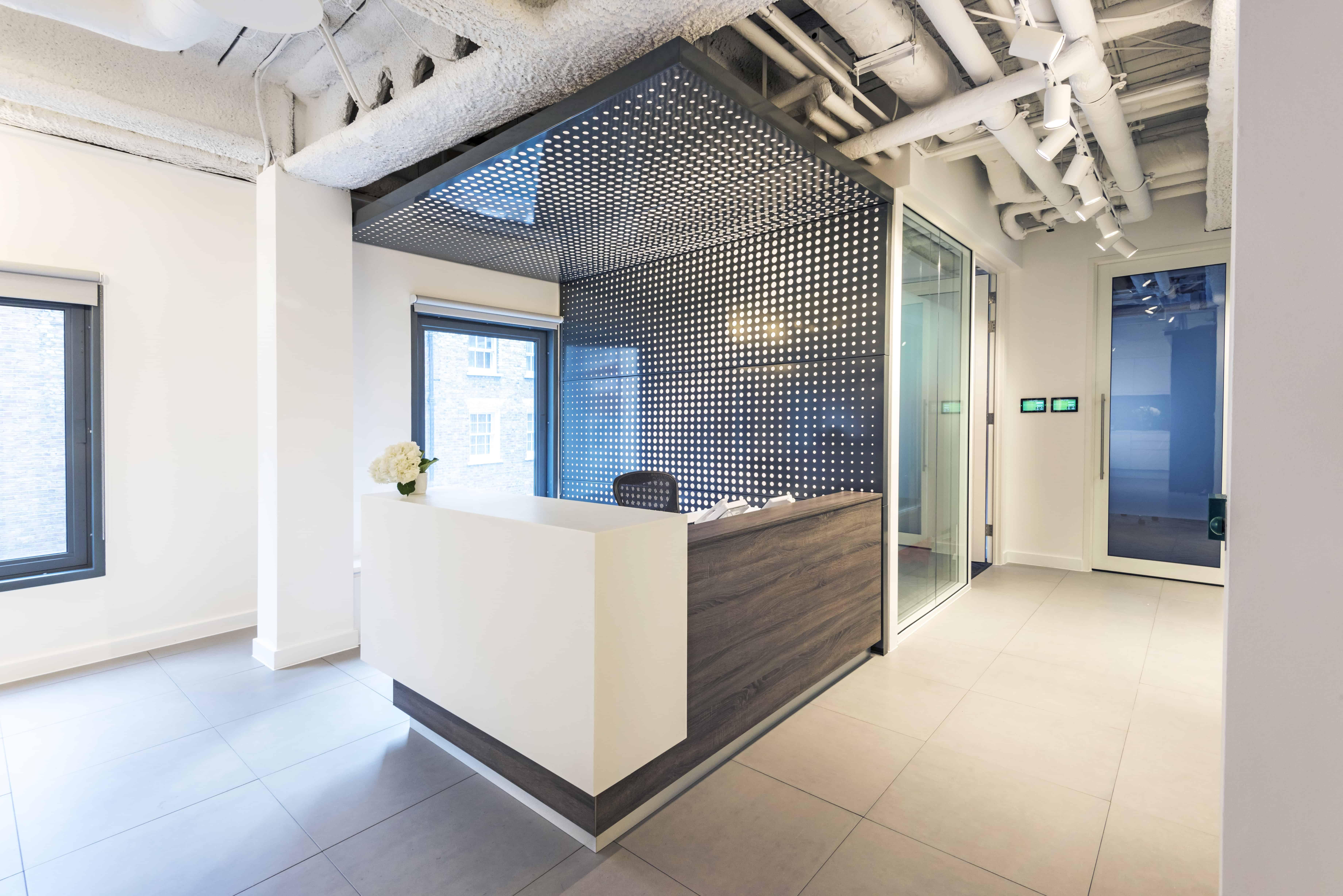 modern reception desk in corporate office space