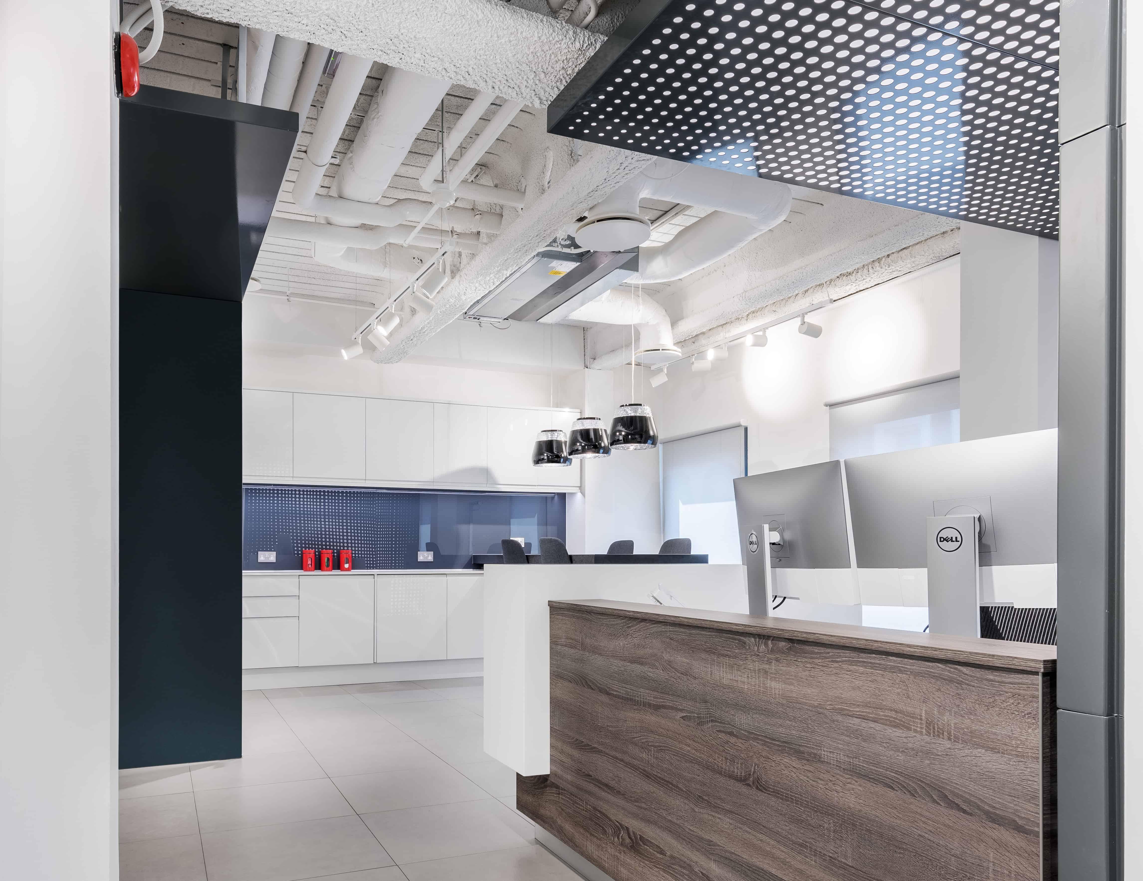 industrial modern reception and coffee bar