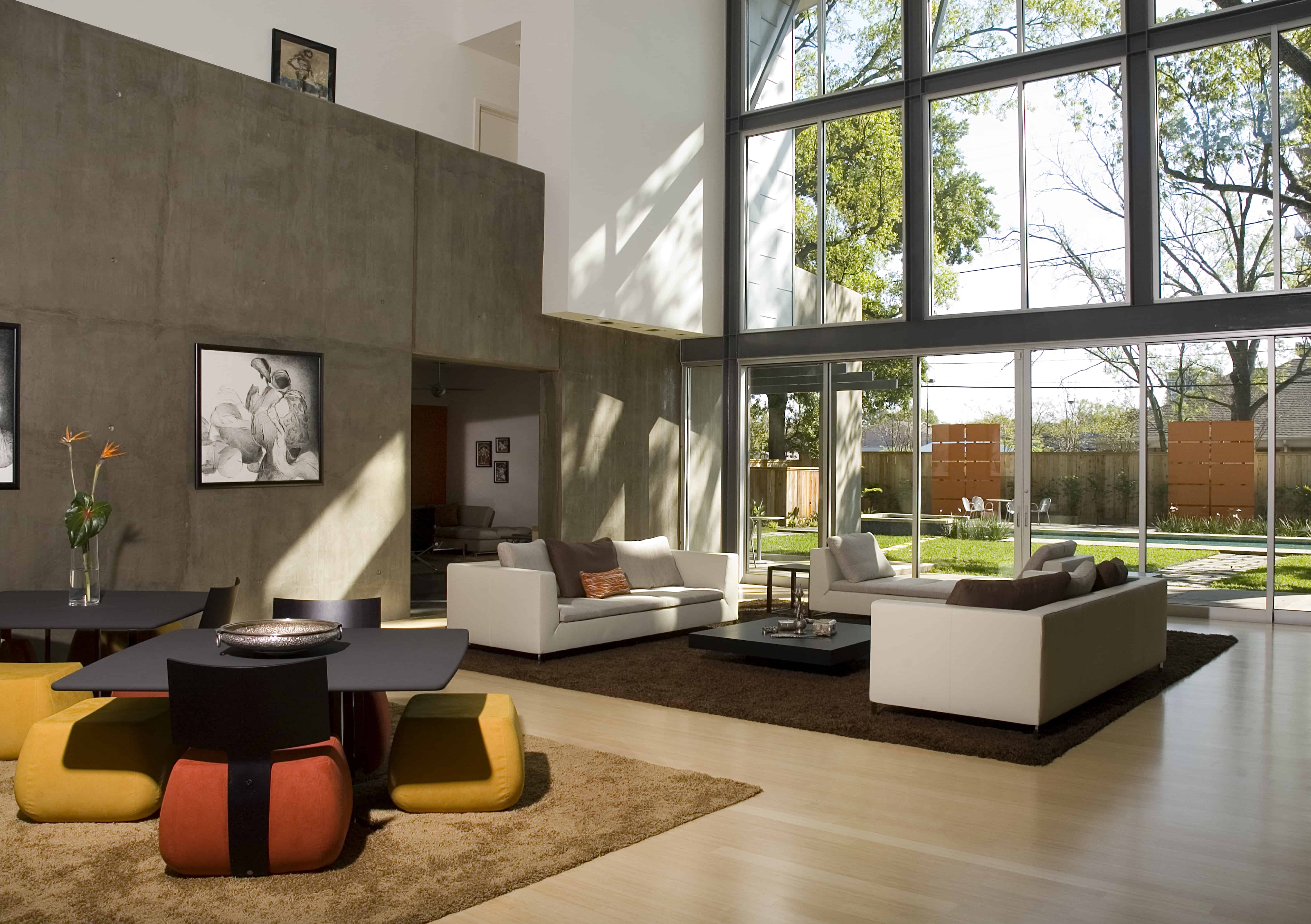 Indian modern home large glass views to yard
