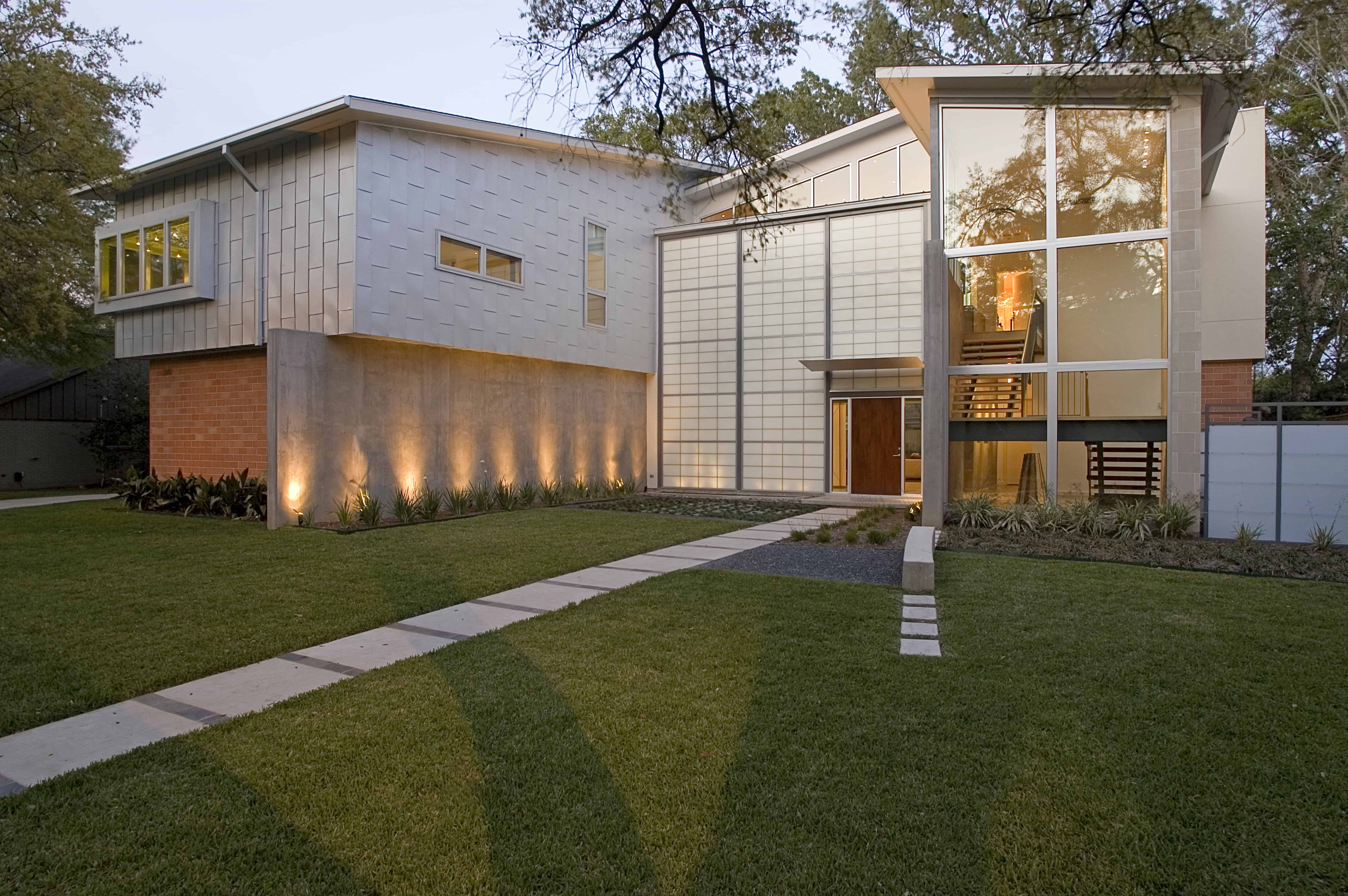Indian modern home highland village glass and stone