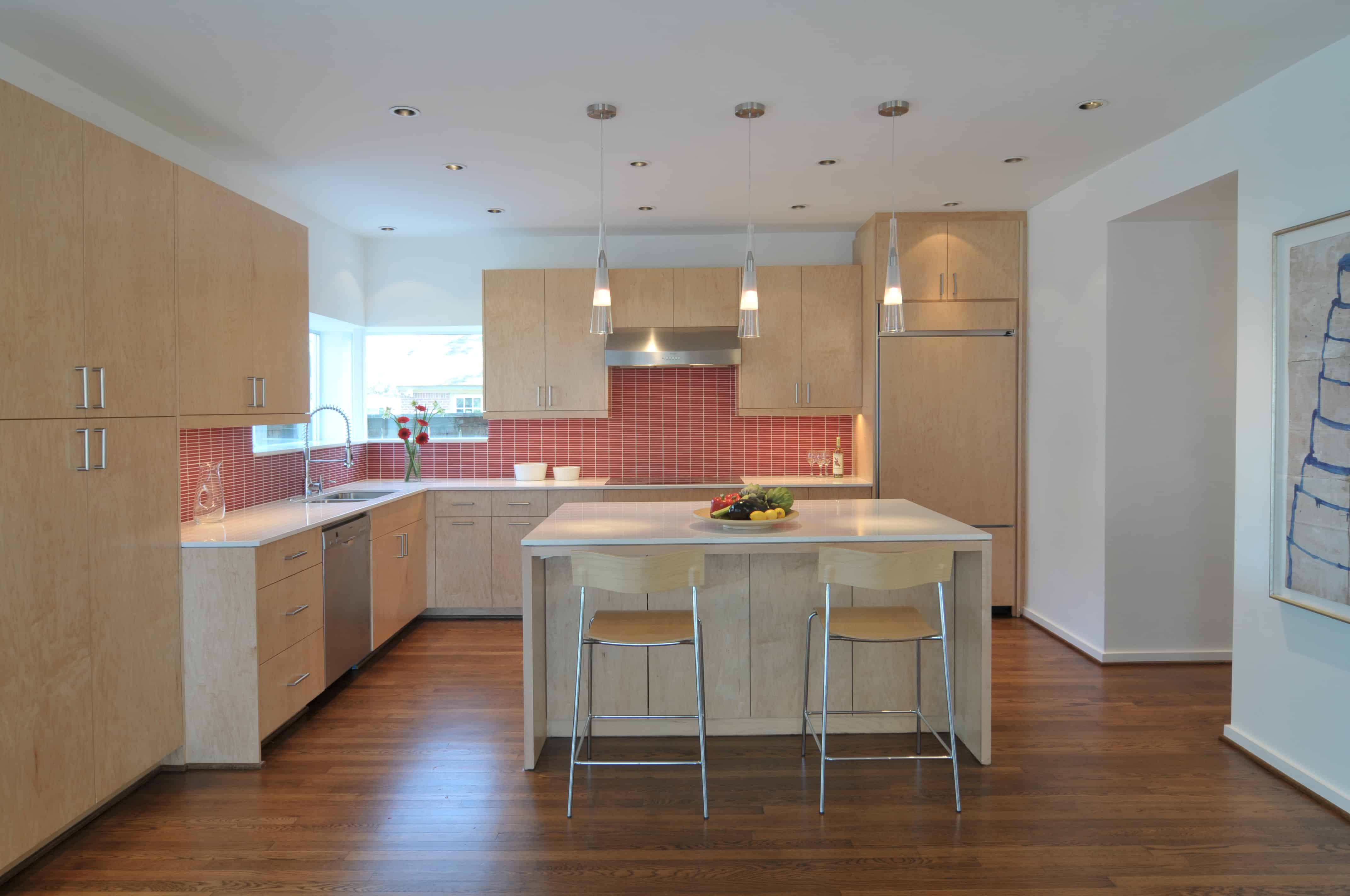 Southmore terrace sustainable houston modern home light wood kitchen with red tile