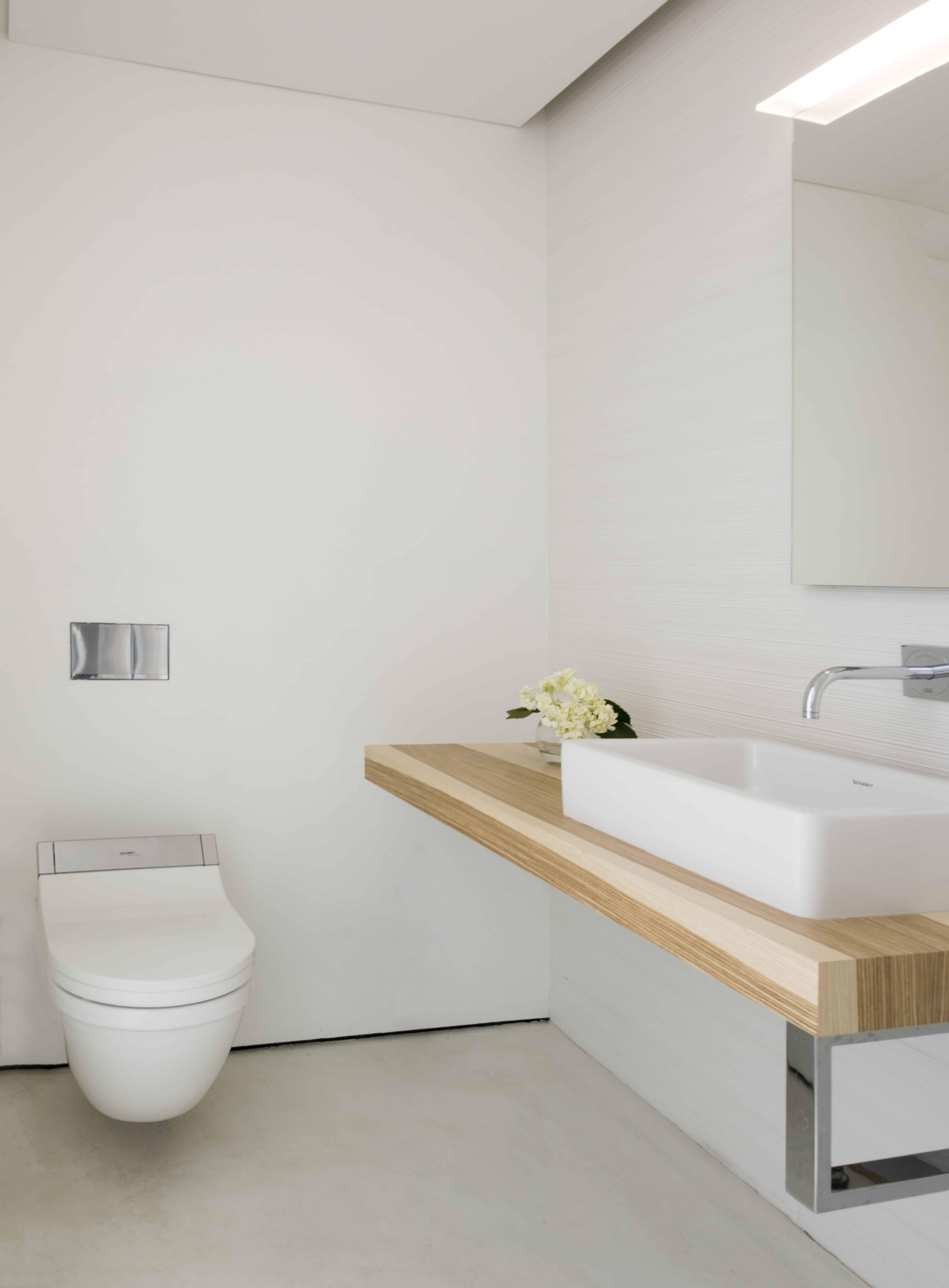 modern white and wood powder bath