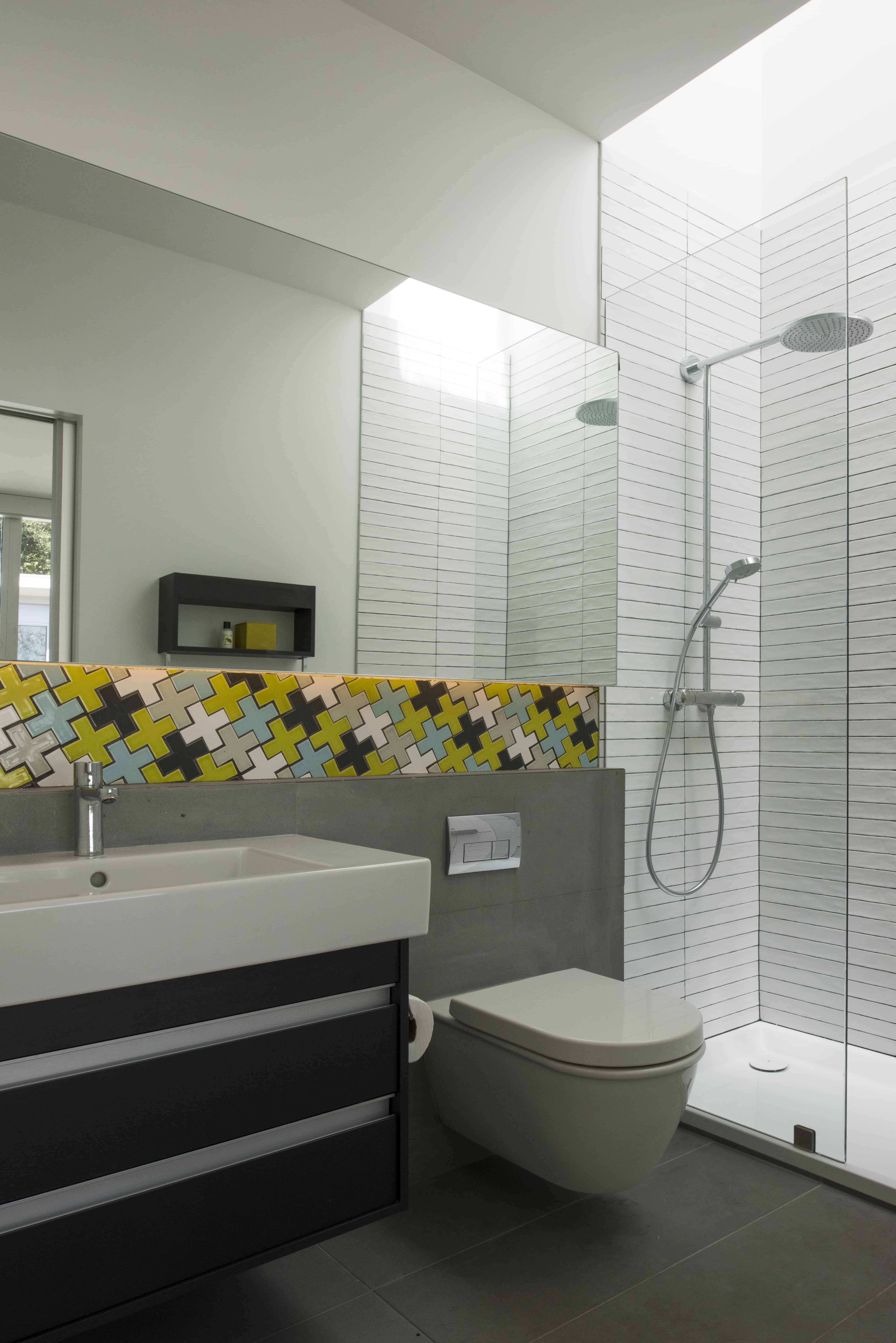 modern secondary bath with plus tile