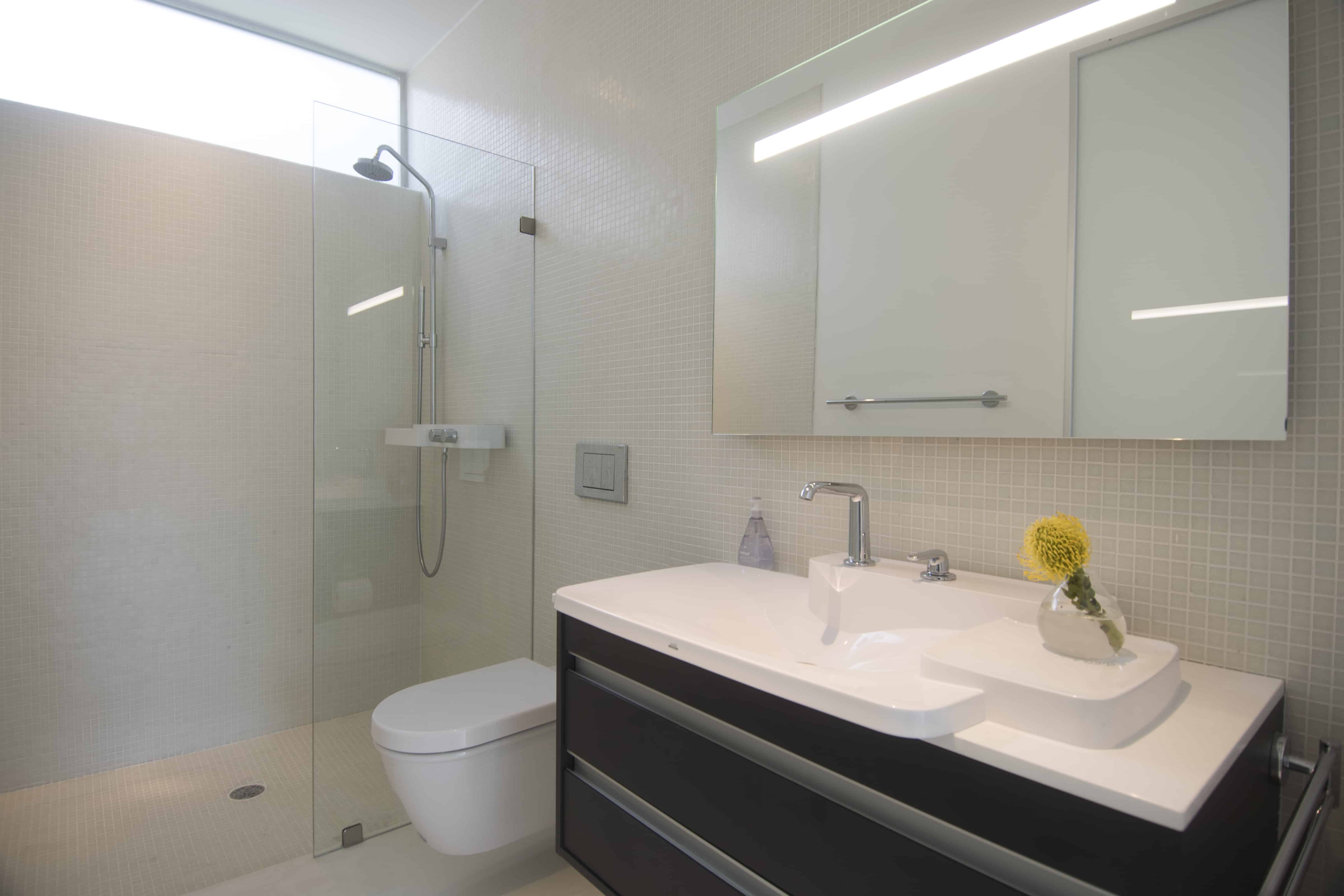open space shower white