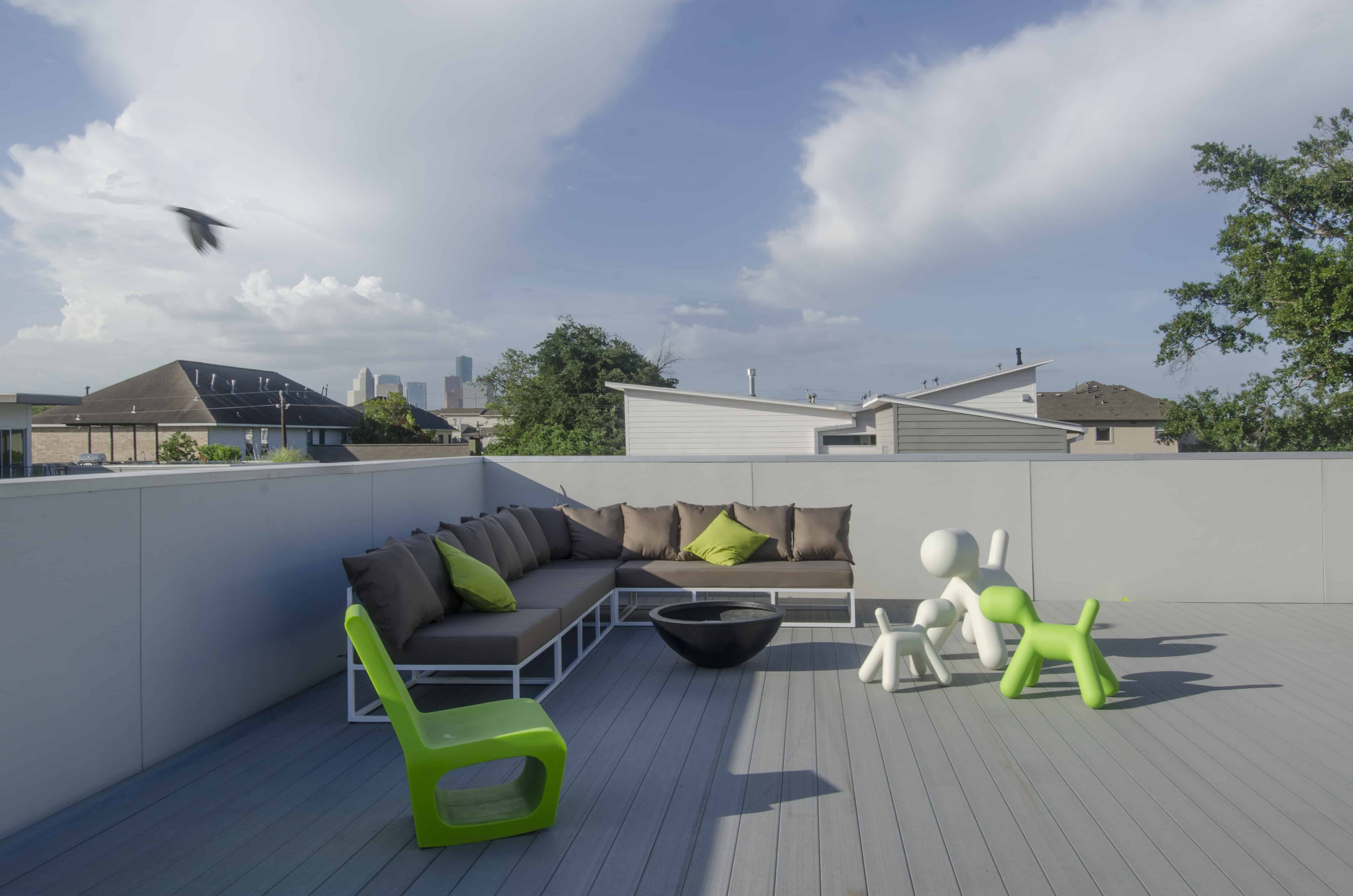 rooftop terrace seating and downtown view