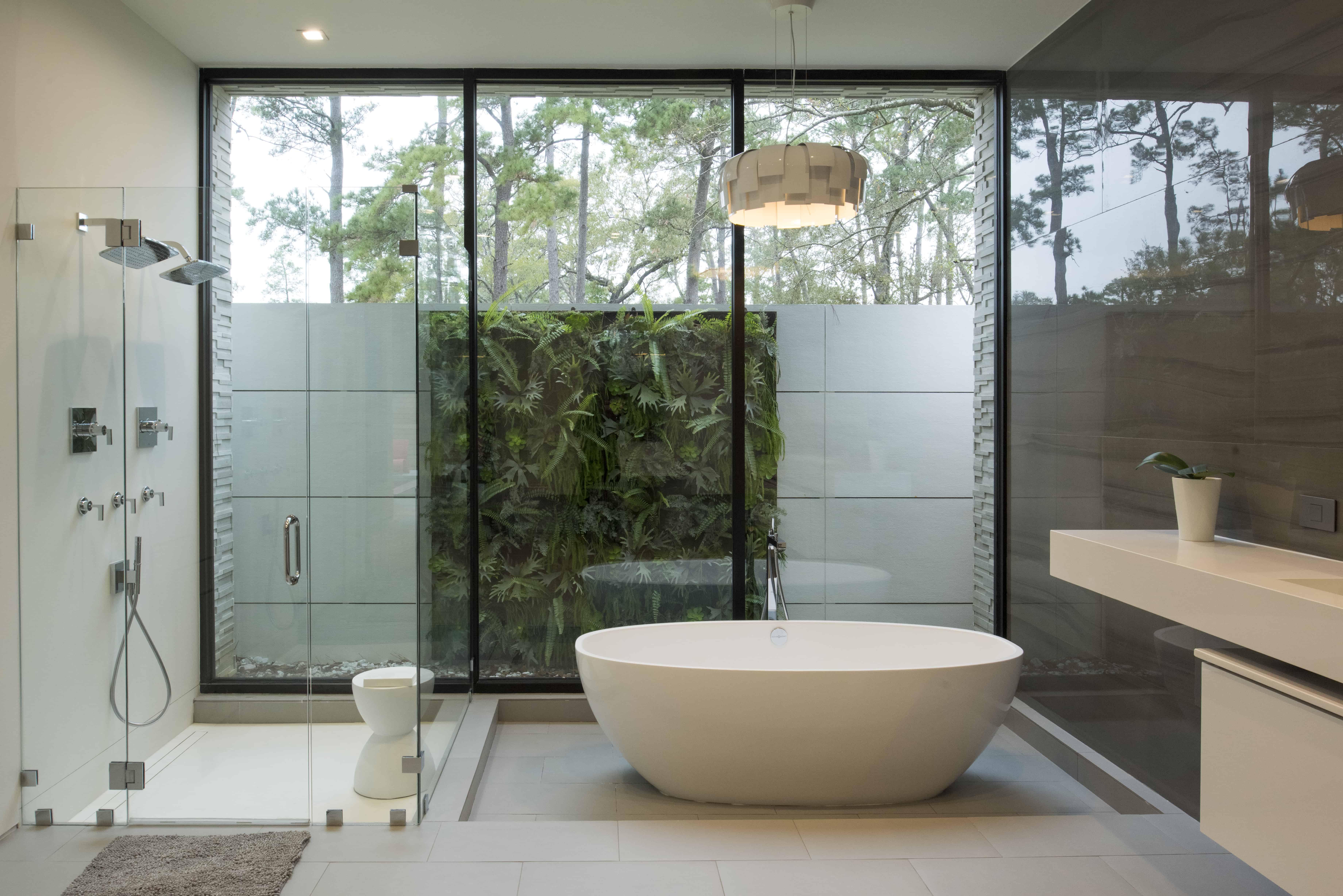 Warm Modern Home Piney Point Memorial Houston spa like bath