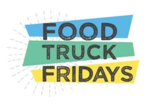 white background with blue, green and yellow that says food truck Friday