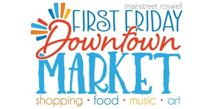 white background with the words first friday downtown market