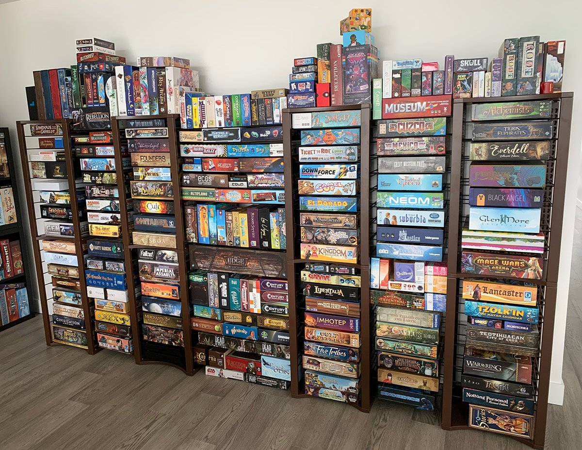 shelves with board games