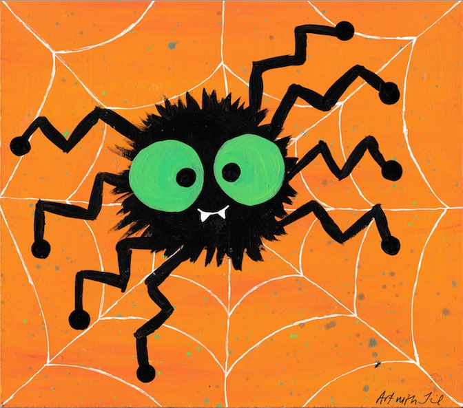 black spider with green eyes and a orange background