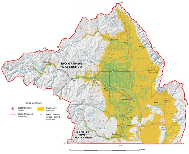 Figure 12. Upper portion of the Rio Grande Basin, including the Closed Basin of southern Colorado (from the Ground Water Atlas of Colorado).