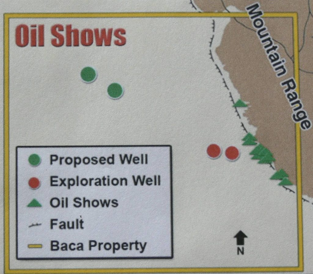 """Figure 4. Location of """"oil shows"""" (green triangles), Baca #1 and #2 wells (red circles) and proposed well locations (green circles) (from Lexam website)."""