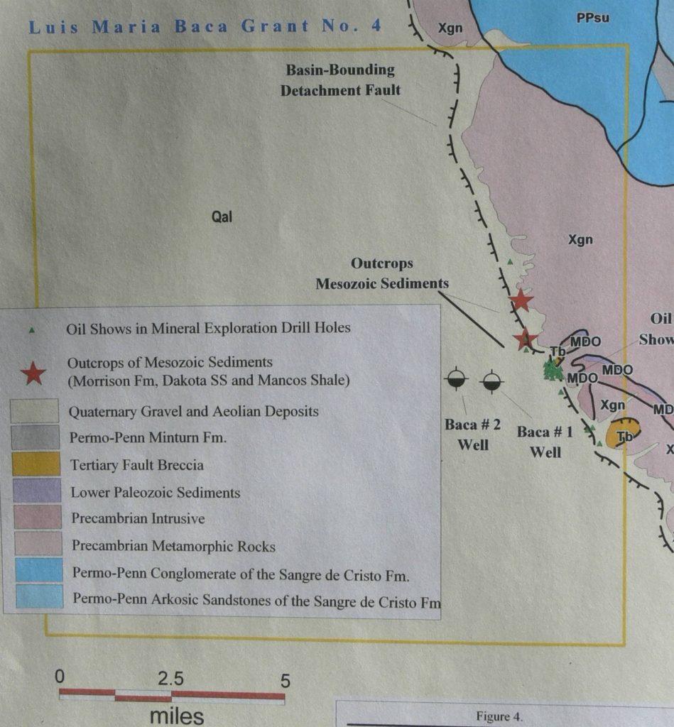 "Figure 5. ""Oil shows"" (green triangles) along Sangre de Cristo fault along eastern edge of San Luis Basin."