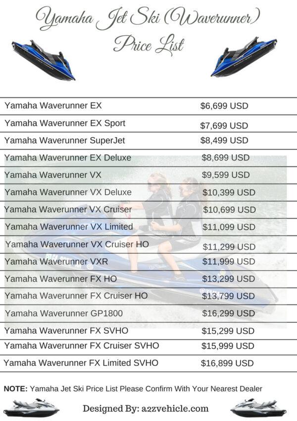 yamaha jet ski price list