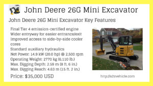 John Deere 26G Compact Excavator price specs