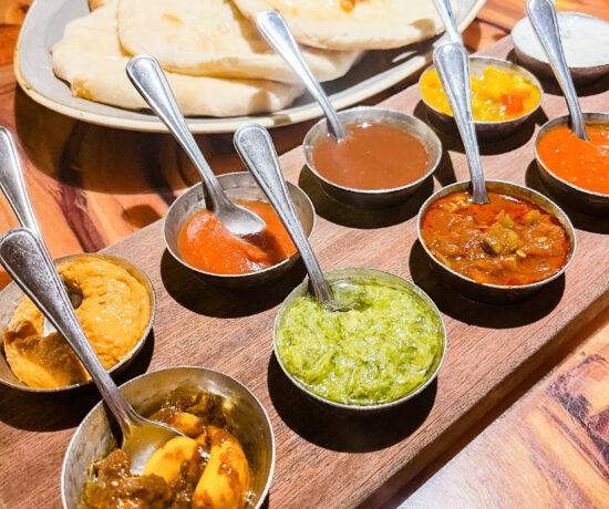 The bread service at Sanaa, nine different sauces and 5 different types of bread.