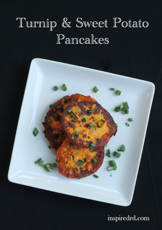Turnip & Sweet Potato Pancakes from InspiredRD.com