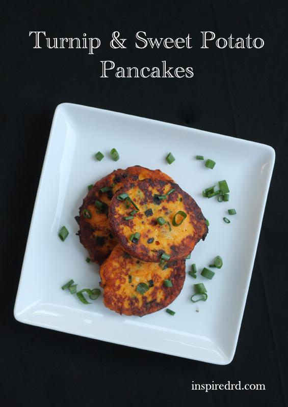Turnip & Sweet Potato Pancakes from InspiredRD.com