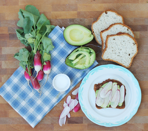 French Breakfast Radishes with Avocado on Toast from InspiredRD.com