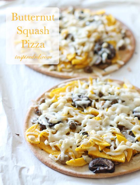 Butternut Squash Pizza from InspiredRD.com #glutenfree #dairyfree
