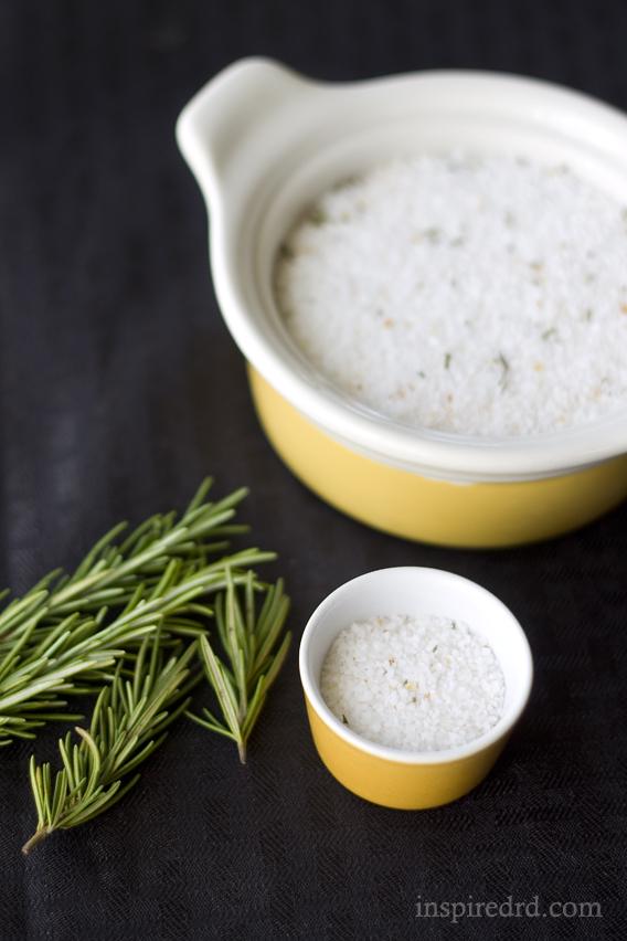 Meyer Lemon & Rosemary Infused Salt by InspiredRD.com